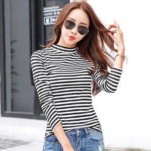 秋冬新款韩版女装显瘦百搭条纹上衣半高领长袖t恤女打底衫潮