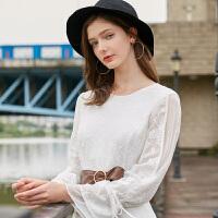 冬装新品 圆领喇叭长袖蕾丝裙子修身连衣裙女D743419L00