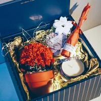 进口发光ins康乃馨永生花礼盒diy母节礼物香薰蜡烛礼盒生日礼物礼品