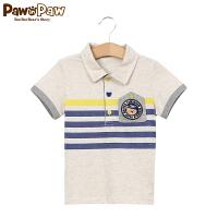 【1件3折 到手价:119】Pawinpaw宝英宝韩国小熊装童夏季款男童条纹短袖polo衫