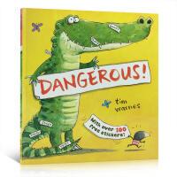 英文原版 Dangerous! 鳄鱼故事绘本100个贴纸书 启蒙宝宝认知词汇 亲子互动故事绘本