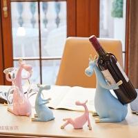 新婚结婚礼物闺蜜实用红酒架酒柜创意家居小鹿摆件北欧风格装饰品