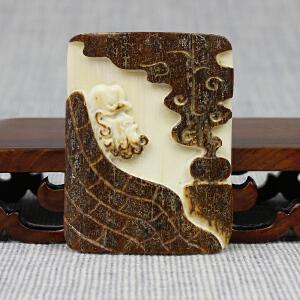 猛犸象牙 达摩悟禅挂件 皮雕 20.63g