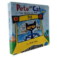 英文原版绘本 Pete the Cat: The Wheels on the Bus Board Book 彼特猫 公