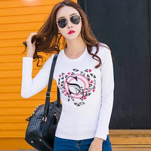 春季女装新款打底衫韩版体恤修身显瘦长袖字母印花t恤女