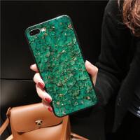 滴胶大理石绿色苹果手机壳硅胶软壳女款